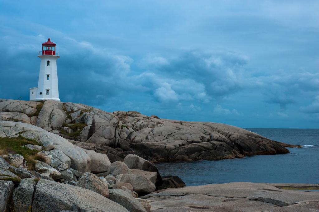 Peggys Point Lighthouse at dusk, Nova Scotia